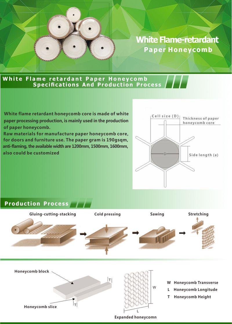 白色 阻燃纸蜂窝芯 产品描述图